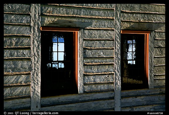 Windows in Great Hall, Grand Portage National Monument. Minnesota, USA (color)