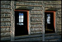 Windows in Great Hall, Grand Portage National Monument. Minnesota, USA