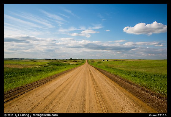 Gravel road in open prairie. North Dakota, USA (color)