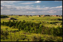Farmlands and distant badlands. North Dakota, USA ( color)