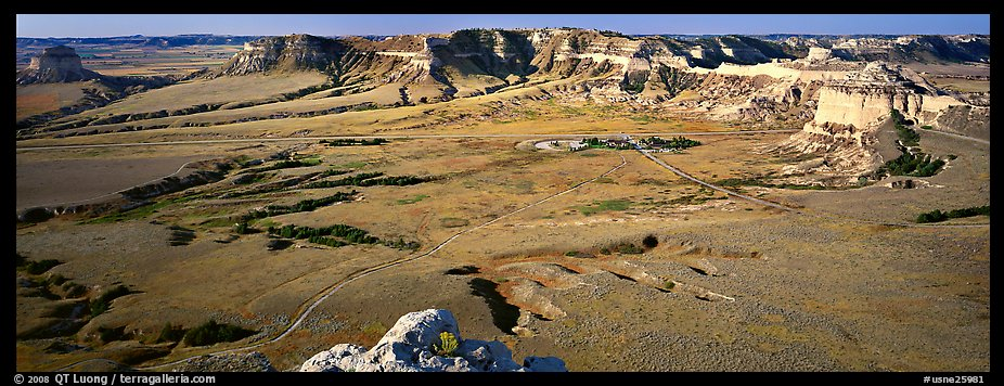 Valley and cliffs,  Scotts Bluff National Monument. South Dakota, USA (color)