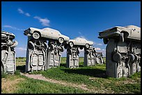 Vintage American automobiles forming replica of Stonehenge. Alliance, Nebraska, USA ( color)