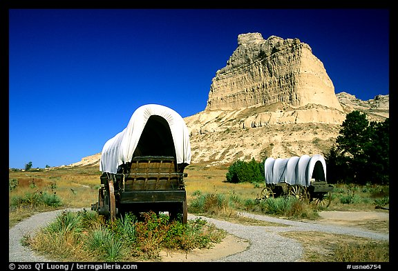Old wagons and bluff. Scotts Bluff National Monument. South Dakota, USA (color)