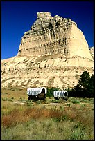 Old wagons and bluff. Scotts Bluff National Monument. South Dakota, USA ( color)