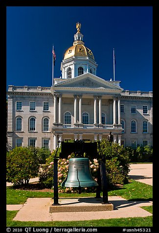 Bell and New Hampshire state capitol. Concord, New Hampshire, USA (color)