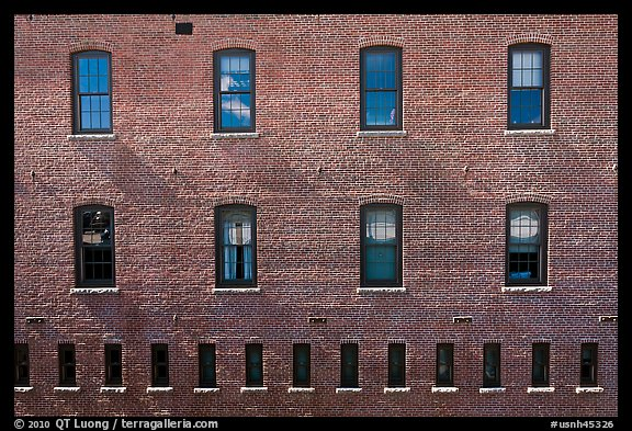 Brick building facade. Concord, New Hampshire, USA (color)