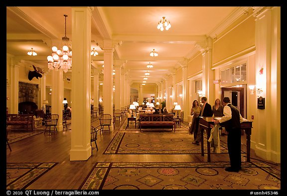 Guests entering Mount Washington hotel, Bretton Woods. New Hampshire, USA (color)