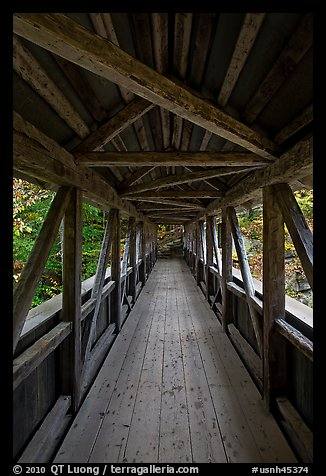 Inside Sentinel Pine covered bridge, Franconia Notch State Park. New Hampshire, USA (color)
