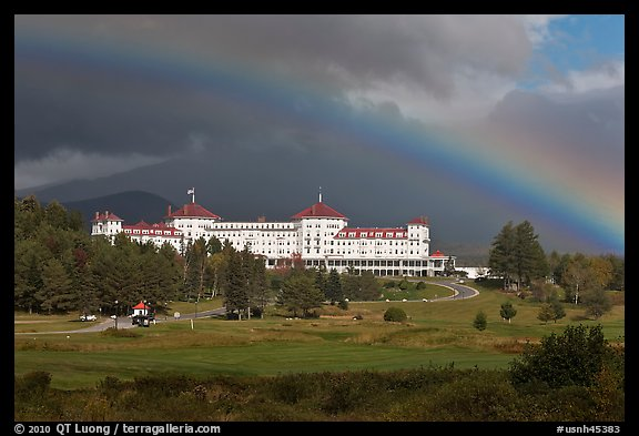 Mount Washington hotel and rainbow, Bretton Woods. New Hampshire, USA (color)
