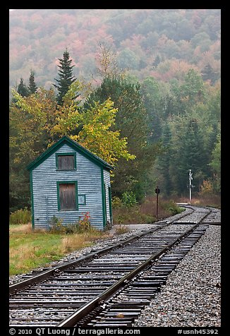Railroad tracks and shack in autumn, White Mountain National Forest. New Hampshire, USA (color)