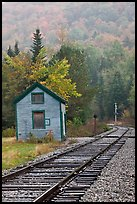 Railroad tracks and shack in autumn, White Mountain National Forest. New Hampshire, USA ( color)
