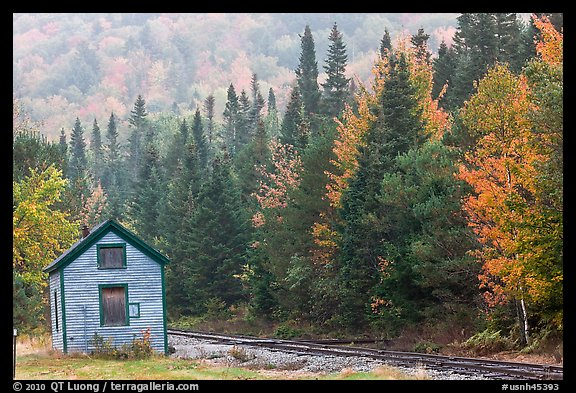 Shack and railway tracks in the fall, White Mountain National Forest. New Hampshire, USA (color)