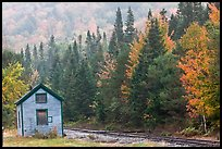Shack and railway tracks in the fall, White Mountain National Forest. New Hampshire, USA