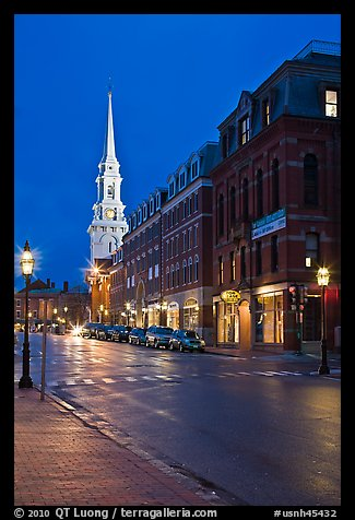 White-steepled Church and street with brick buildings by night. Portsmouth, New Hampshire, USA (color)