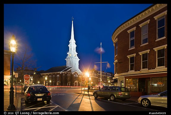 Square and church by night. Portsmouth, New Hampshire, USA (color)