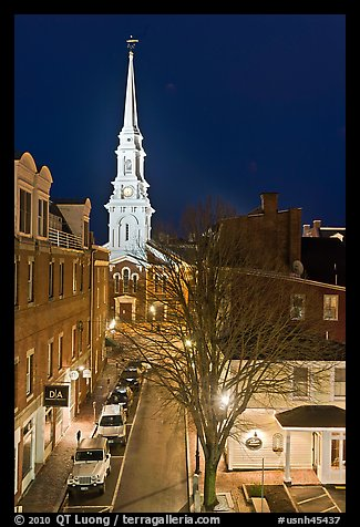 Street from above and church at night. Portsmouth, New Hampshire, USA (color)