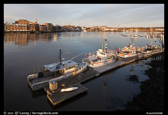 Deck, fishing boats, and river. Portsmouth, New Hampshire, USA (color)