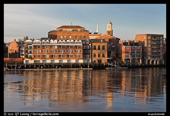 Waterfront buildings and church. Portsmouth, New Hampshire, USA (color)