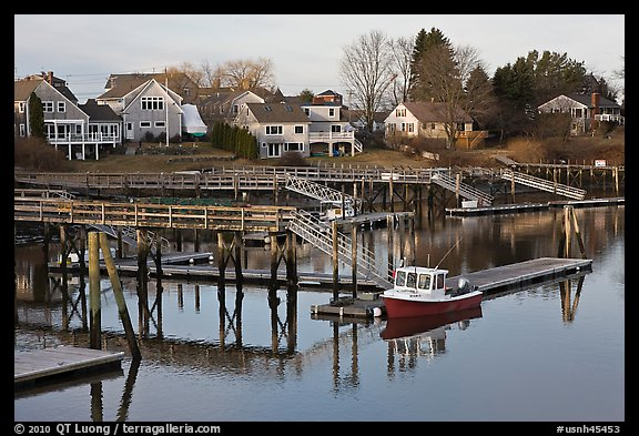 Houses and private boat decks. Portsmouth, New Hampshire, USA (color)