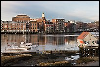 Fishing boat, shack, and waterfront buildings. Portsmouth, New Hampshire, USA (color)