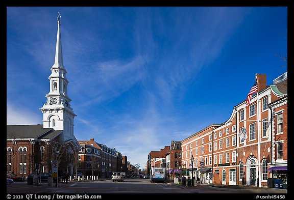 Market Square and church. Portsmouth, New Hampshire, USA (color)