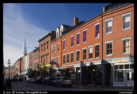 Street and church. Portsmouth, New Hampshire, USA (color)