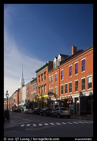 Brick buildings and church. Portsmouth, New Hampshire, USA (color)