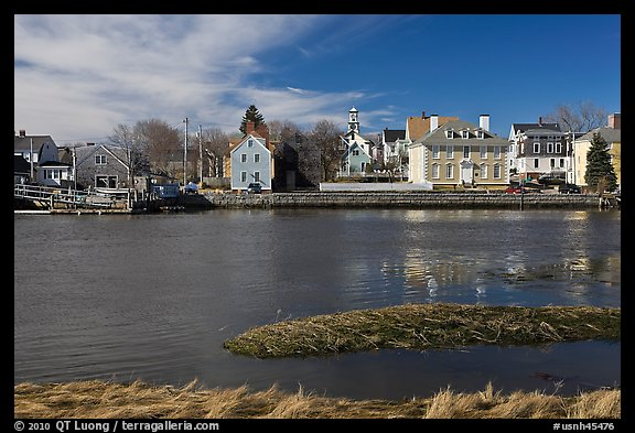 Waterfront with houses and church. Portsmouth, New Hampshire, USA (color)