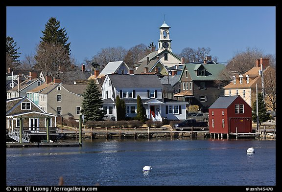 Old wooden houses and church. Portsmouth, New Hampshire, USA (color)