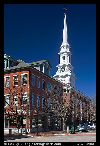 Street and white steepled church. Portsmouth, New Hampshire, USA (color)