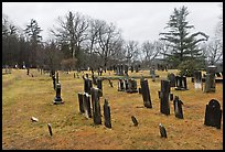 Slate headstones in cemetery. Walpole, New Hampshire, USA (color)