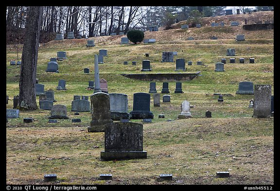 Headstones of different sizes in cemetery. Walpole, New Hampshire, USA (color)
