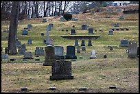 Headstones of different sizes in cemetery. Walpole, New Hampshire, USA ( color)