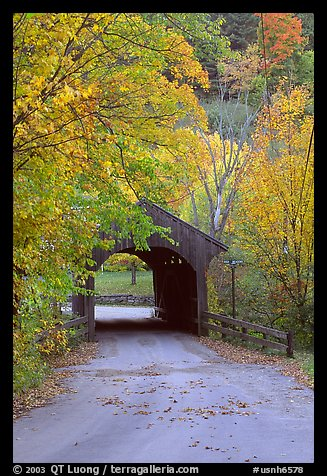 Picture Photo Covered Bridge In The Fall Bath New