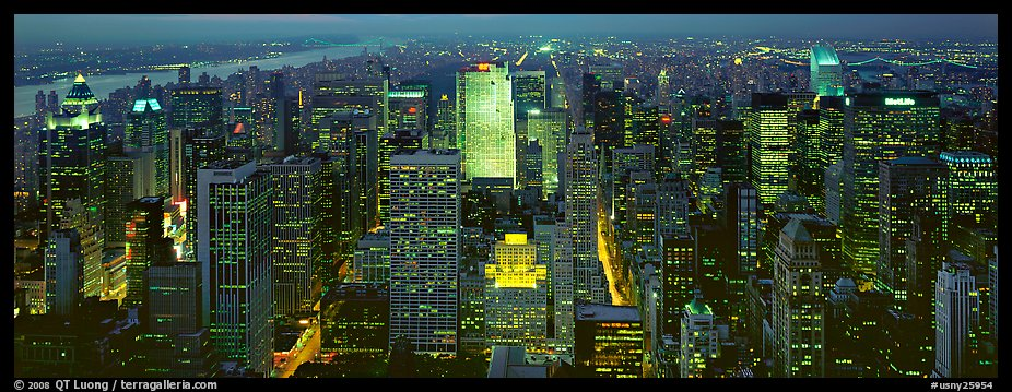 Manhattan night cityscape. NYC, New York, USA (color)