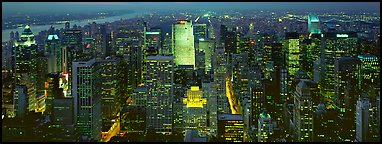 Manhattan night cityscape. NYC, New York, USA (Panoramic color)
