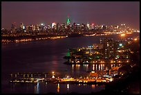 Hudson River and New York skyline at night. NYC, New York, USA ( color)
