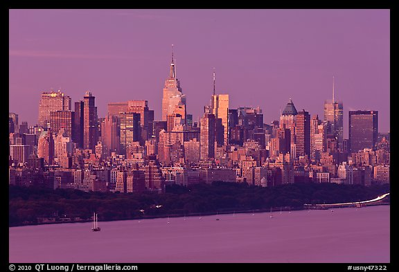 New York City skyline at sunrise. NYC, New York, USA (color)