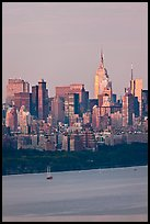 Manhattan skyline with Empire State Building and Hudson. NYC, New York, USA (color)