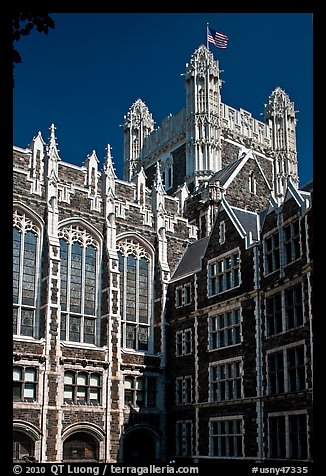 Shepard Hall tower, CUNY. NYC, New York, USA (color)
