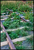Retired railroad tracks, the High Line. NYC, New York, USA (color)