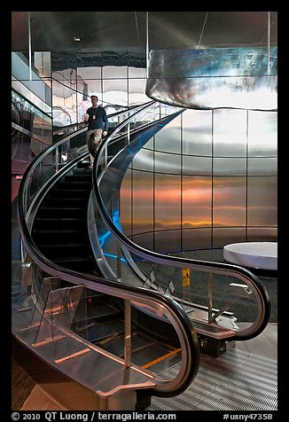 Rare curved escalator, Bloomberg Tower. NYC, New York, USA (color)