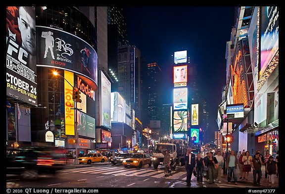 The Great White Way (Times Square) at night. NYC, New York, USA (color)
