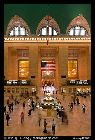 Main information booth and flag hung after 9/11, Grand Central Terminal. NYC, New York, USA (color)