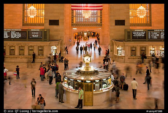 Information booth, Grand Central Station. NYC, New York, USA (color)