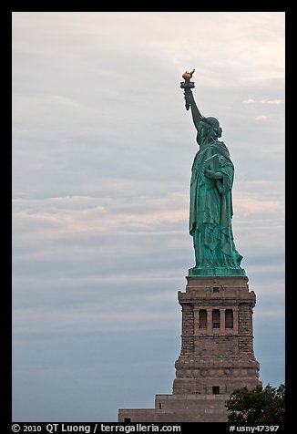 Liberty Enlightening the World, side view, evening. NYC, New York, USA (color)