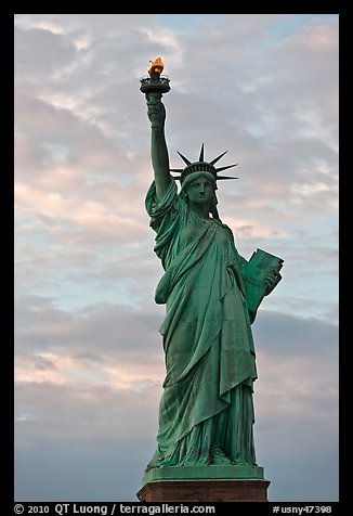 Statue of Liberty with lit torch, Statue of Liberty National Monument. NYC, New York, USA (color)