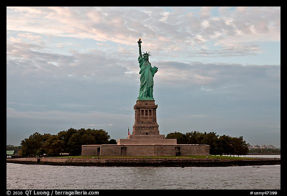 Liberty Island with Statue of Liberty. NYC, New York, USA (color)