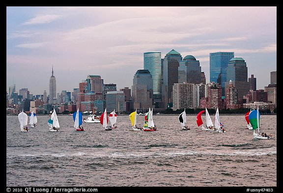 Sailboats, lower and mid Manhattan skyline. NYC, New York, USA (color)