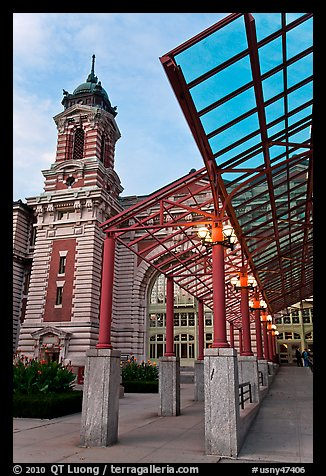Entrance to Main Building, Ellis Island. NYC, New York, USA (color)